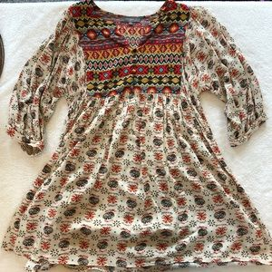 Umgee Bubble Sleeve Boho Tunic Peasant Style M